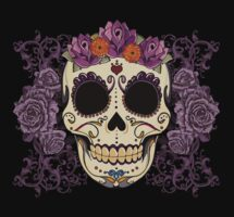 Vintage Skull and Roses by Tammy Wetzel