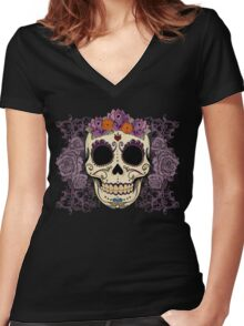 Vintage Skull and Roses Women's Fitted V-Neck T-Shirt