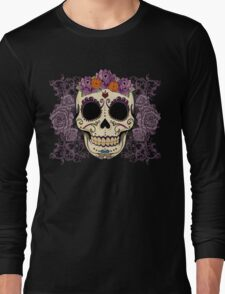 Vintage Skull and Roses Long Sleeve T-Shirt