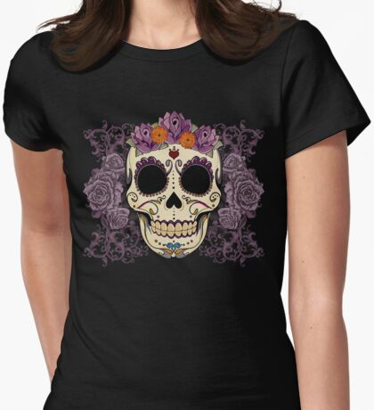 Vintage Skull and Roses Womens Fitted T-Shirt