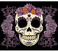 Vintage Skull and Roses Photographic Print