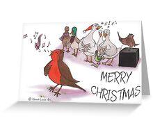 Christmas - Robin & Birds Singing Christmas Carols Greeting Card