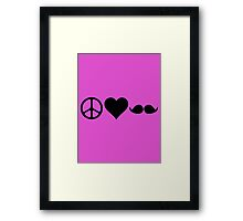 Moustache, peace and love Framed Print