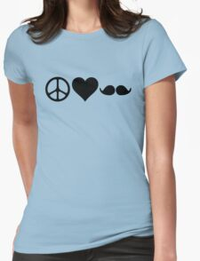 Moustache, peace and love Womens Fitted T-Shirt