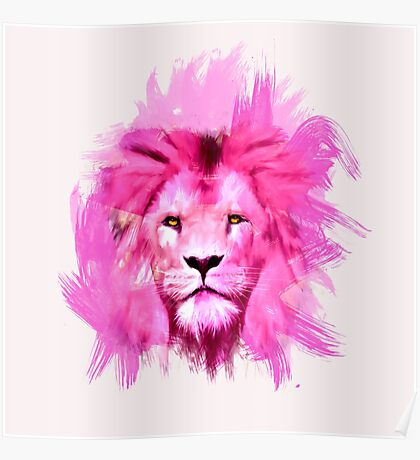 Pink Lion Poster