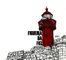 Figueira da Foz - Red Lighthouse by Paul  Nelson-Esch