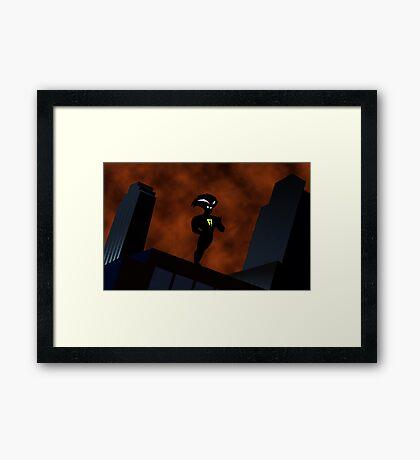 Freakazoid Gotham Skyline Sillhouette Framed Print