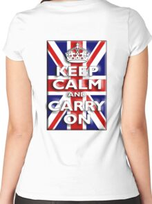 Keep Calm, & Carry On, Union Jack, Flag, Blighty, UK, GB, Be British! Women's Fitted Scoop T-Shirt