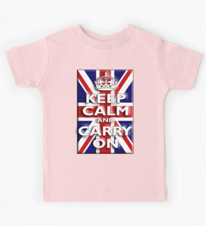 Keep Calm, & Carry On, Union Jack, Flag, Blighty, UK, GB, Be British! Kids Tee