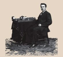 Edison and his invention the phonograph in 1878 by JoAnnFineArt