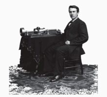Edison and his invention the phonograph in 1878 Kids Tee