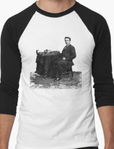 Edison and his invention the phonograph in 1878 Men's Baseball ¾ T-Shirt