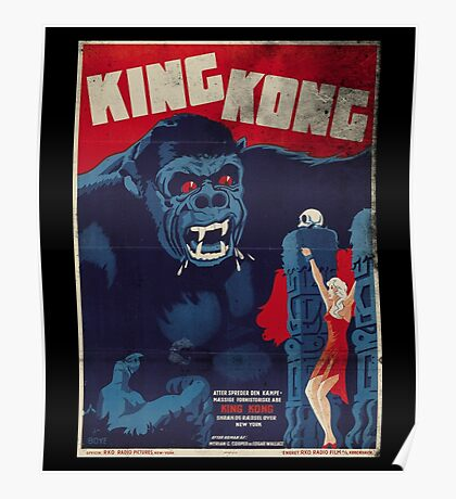 King Kong Vintage Retro Movie Poster Poster