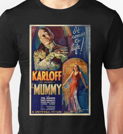 Mummy Boris Karloff Movie Vintage Poster Unisex T-Shirt