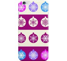 Set of Christmas Balls with White Snowflakes in Shades of Blue, Lilac and Radiant Orchid on Striped Background iPhone Case/Skin