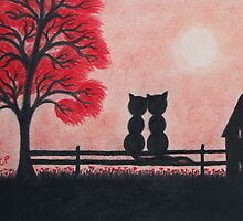 Romantic Cats Silhouette with Red Tree by Claudine Peronne