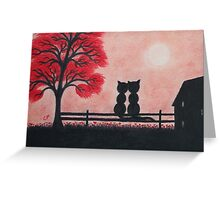 Romantic Cats on Fence with House and Red Tree Greeting Card
