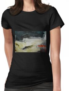 Cream Abstract Painting  Womens Fitted T-Shirt