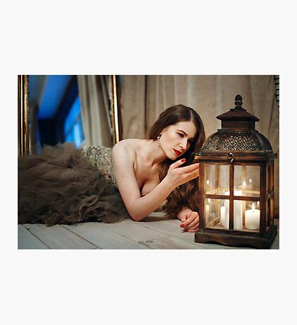Woman in Elegant Dress Looking in Lantern Photographic Print