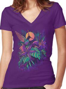 Purple Garden Women's Fitted V-Neck T-Shirt