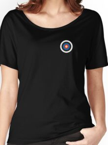 Bulls eye, on Breast, Red, White, Blue, Roundel, Target, SMALL ON BLACK Women's Relaxed Fit T-Shirt