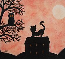 Cat and Owl Silhouettes with Moon by Claudine Peronne
