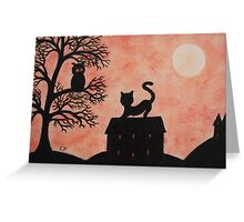 Halloween Cat and Owl Silhouettes with Moon Greeting Card