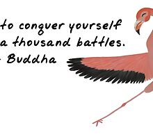 Flamingo Zenimal with Buddha Quote by Allyson Rico