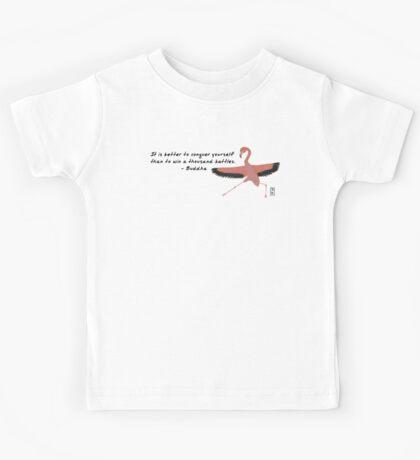 Flamingo Zenimal with Buddha Quote Kids Tee