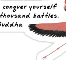 Flamingo Zenimal with Buddha Quote Sticker
