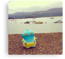Babo uglydoll on holiday in Wales, UK. Canvas Print