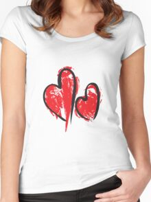 Vector hearts set. Hand drawn. Women's Fitted Scoop T-Shirt