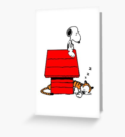 Snoopy and Hobbes Greeting Card