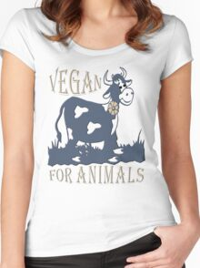 VEGAN FOR ANIMALS Women's Fitted Scoop T-Shirt