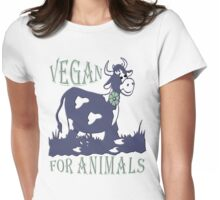 VEGAN FOR ANIMALS Womens Fitted T-Shirt
