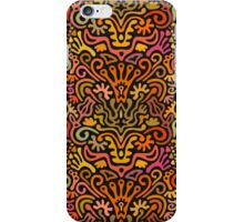 Funny Colorful Seamless Pattern with Abstract Flowers, Leaves, Hearts, Crowns, Eggs, Keys, Etc. on Black Background iPhone Case/Skin
