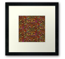 Funny Colorful Seamless Pattern with Abstract Flowers, Leaves, Hearts, Crowns, Eggs, Keys, Etc. on Black Background Framed Print