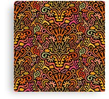 Funny Colorful Seamless Pattern with Abstract Flowers, Leaves, Hearts, Crowns, Eggs, Keys, Etc. on Black Background Canvas Print