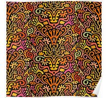 Funny Colorful Seamless Pattern with Abstract Flowers, Leaves, Hearts, Crowns, Eggs, Keys, Etc. on Black Background Poster