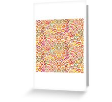 Funny Colorful Seamless Pattern with Abstract Flowers, Leaves, Hearts, Crowns, Eggs, Keys, Etc. on White Background Greeting Card
