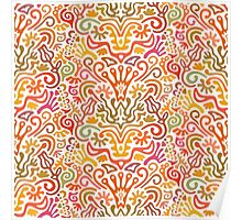 Funny Colorful Seamless Pattern with Abstract Flowers, Leaves, Hearts, Crowns, Eggs, Keys, Etc. on White Background Poster