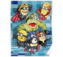 Cute caricature parody comics superheroes Group Poster