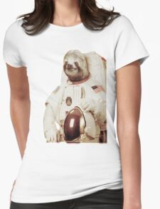 Astronaut Sloth Womens Fitted T-Shirt