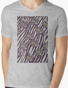 Pink Glitter Zebra Stripes with Zebra Flower Mens V-Neck T-Shirt