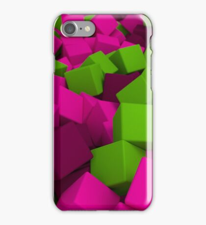 3d bulk of pink and green cubes iPhone Case/Skin