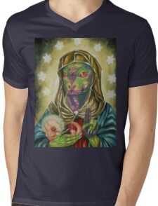 Blessed Reptilian Virgin and Child Mens V-Neck T-Shirt