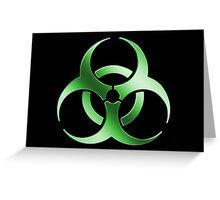 Biohazard Symbol Sign - Acid Green - Metallic Greeting Card