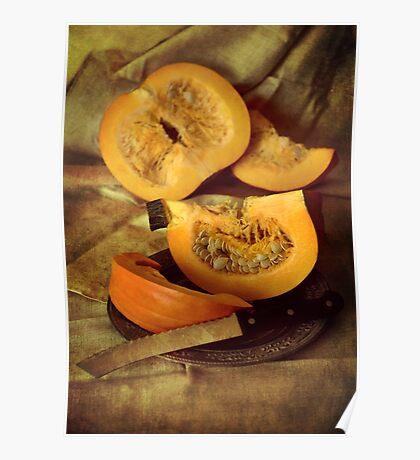 Still life with fresh pumpkins Poster