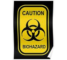 Caution Biohazard Sign - Yellow & Black - Rectangular Poster
