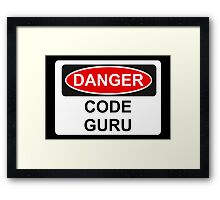 Danger Code Guru - Warning Sign Framed Print